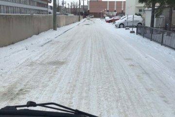 現地は既に北国らしい圧雪路でした